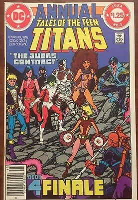 Tale Of The Teen Titans Annual #3  (1984) 2nd Nightwing Deathstroke  Cover Flaw