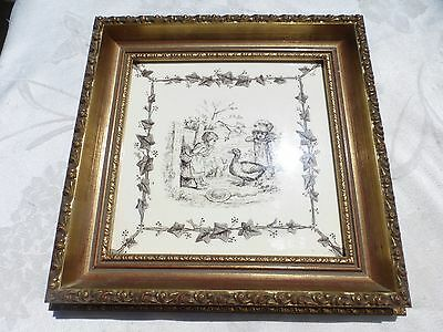 Minton - Hollins tile 2 GIRLS Outside with Goose Framed Very Scarce Tile amazing