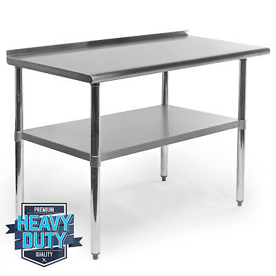 "Stainless Steel Kitchen Restaurant Work Prep Table with Backsplash - 24"" x 48"""