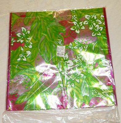 LILLY PULITZER Shopper Reusable Bag Metallic Spill The Juice Packaging Plastic N