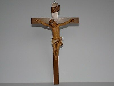 """Vintage ANRI Wooden CRUCIFIX 12""""X7""""JESUS on CROSS>ITALY>Passion>Easter CHRISTIAN"""