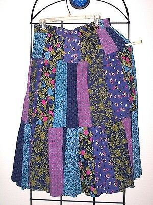 Patchwork print western rodeo square dance skirt M