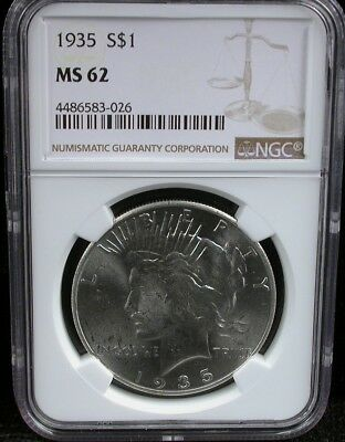 1935 Peace S$1 Ngc Ms 62 1935 Peace Silver Dollar S$1