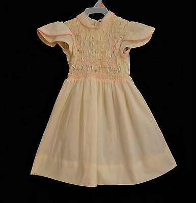 Vintage Polly Flinders Girls Smocked Dress 5 Ivory Pink Trim