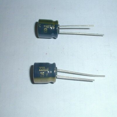 Capacitor Electrolytic 220uF 25 Volt 105 degrees C 8X11mm Radial lead 148 pieces