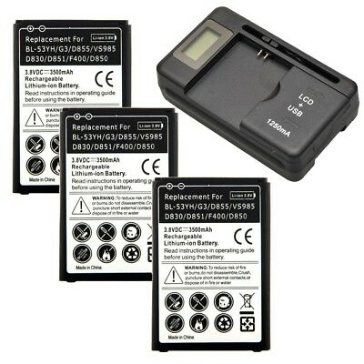 3500mAh High-Capacity BL-53YH Battery + Charger For LG G3 D830 D851 D855 VS985