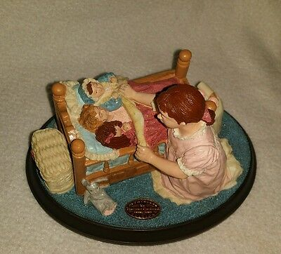 """Norman Rockwell's Age of Wonder series """"Hush-A-Bye"""" Figurine NIB Girl with Dolls"""