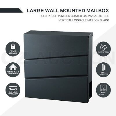 Black Wall Mounted Mailbox Large Galvanized Letterbox Vertical Lock With 2 Keys