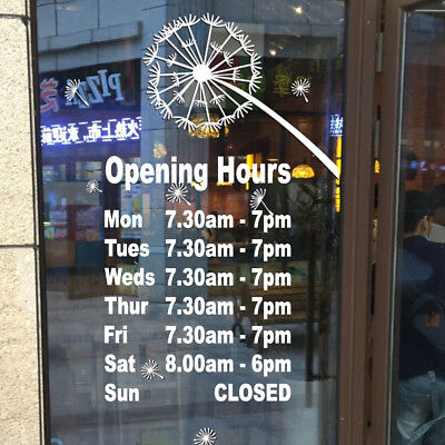 OPENING HOURS Open Closed Business Sign Shop External Window Vinyl Decal Sticker