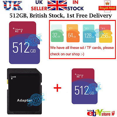 Micro SD / TF Card Class 10 TF Flash Memory SDHC  SDXC - 512GB - With Adapter UK