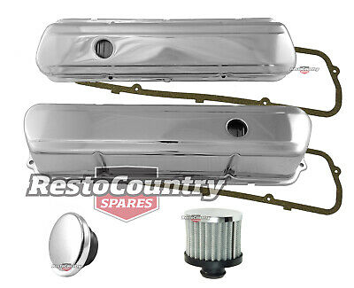 Holden 253 308 V8 Smooth Chrome Rocker Covers + Gaskets + Breather + Cap Set