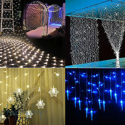 Icicle Hanging LED Outdoor Fairy Curtain String Light Xmas Wedding Party Decor