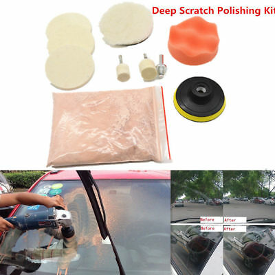 Car Window Scratch Remover Glass Polishing 8 OZ Cerium Oxide Wheel Pad Tool Kit