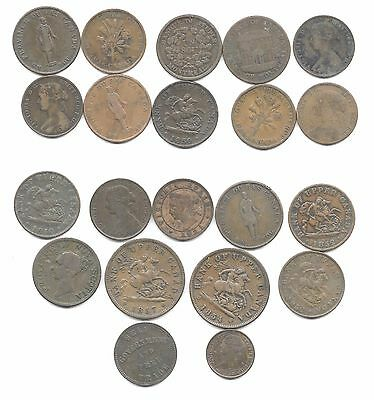 Canada - Dealer Lot Of 21 Colonial Canada Tokens/coins(Cns 839)