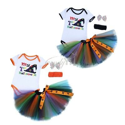3PCS Baby Girl 1st Birthday Crown Romper Tutu Skirt Dress Party Headband Outfit