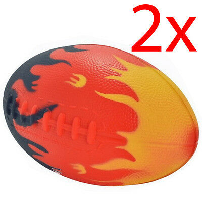 """Set Of 2 Rugby Ball Pu Flame Indoor Outdoor Games 8"""" Childrens Fun Foam Kids New"""