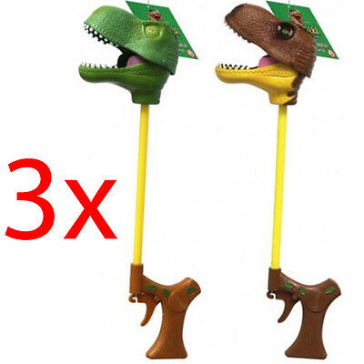 Set Of 3 Dinosaur T Rex Grabbers With Sounds Pincher Toy Puppet Kids Childrens