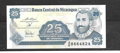 NICARAGUA #170a 1991 UNUSED OLD 25 CENTAVOS BANKNOTE BILL CURRENCY MONEY