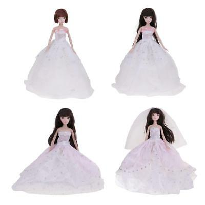 4 Handmade Wedding Dress Hat Veil Party Gown Clothes Outfits for Barbie Doll