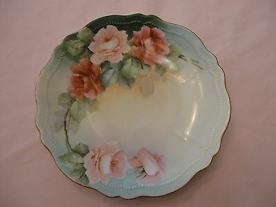 Hand Painted/Beaded Rose Plate Royal Austria