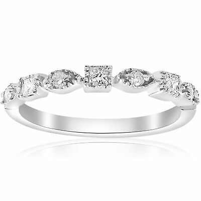 1/5ct Princess Cut Diamond Stackable Vintage Wedding Band 14K White Gold Ring