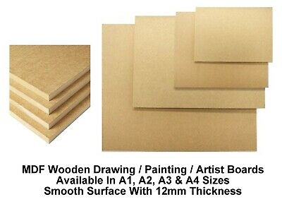 A4 A3 A2 A1 MDF Wooden Board Drawing Board Painting Artist Art (12mm Thick)