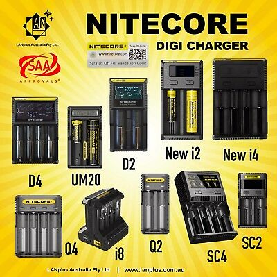 Nitecore D4 D2 New i4 New i2 i8 Q2 Q4 Battery Charger F Li-ion 18650 CR123A AA