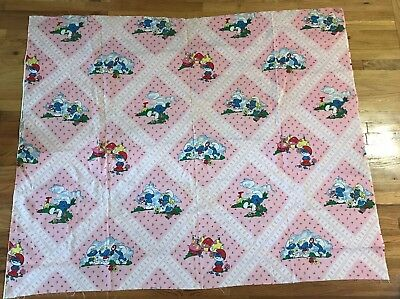 "Vintage 80's SMURF Fabric 45x36"" Pink w/ Roses Papa Smurfette Wallace Berrie"