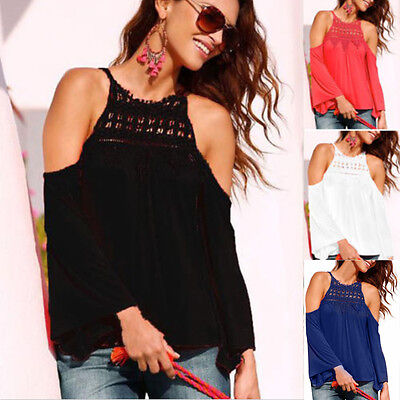Fashion Womens Off Shoulder Casual Party Blouse Long Sleeve T Shirt Tops S-3XL