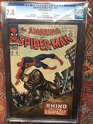 Amazing Spiderman #43 Cgc 7.0 White Pages! Nicest 7.0 You'll Ever See! Rhino