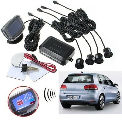 4 Parking Sensors Car LCD Reverse Backup Rear Radar System Kit Sound Alert Alarm