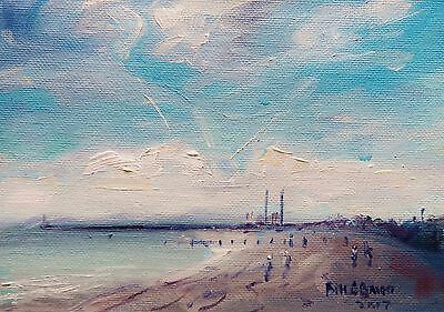 Original Oil Painting, Irish Art. Morning on Dollymount Strand by Bill O'Brien
