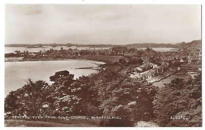 BURNTISLAND Vie from Golf Course to Forth Bridge, RP Postcard by Valentine