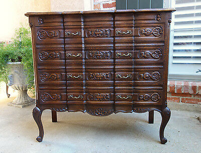 Antique French Carved Dark Oak Chest of Drawers Louis XV End Table Serpentine