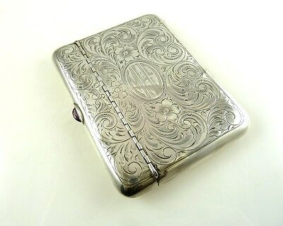 Sterling Silver Money Card Case Edwardian  Engraved Floral Work Amethys Clasp