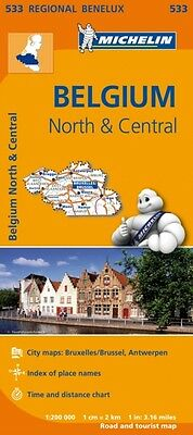 Belgium North & Central Regional Map 533 (Michelin Regional Maps). 9782067183452