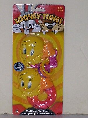 Looney Tunes Tweety Bird Rattle and Teether Set of Two Mint in Package
