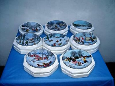 """""""an Old Time Country Winter"""" Complete Set Of 8 Christmas Plates"""