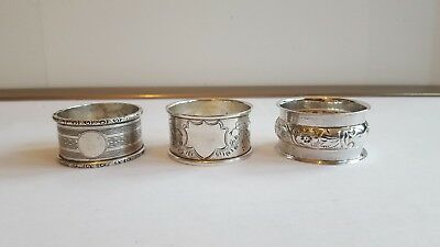 3 Solid silver  Napkin rings all in VGC with full hallmarks 1930s-1940s 63 grams