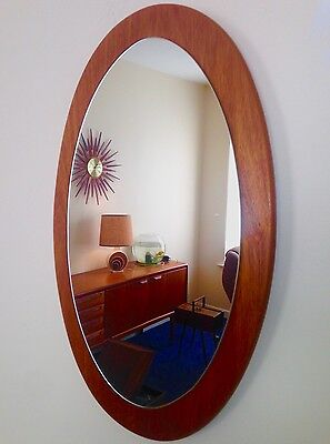 Teak Oval Retro Mirror