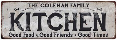 THE COLEMAN FAMILY KITCHEN Vintage Look Metal Sign Chic Decor Retro 6184330