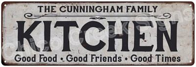 THE CUNNINGHAM FAMILY KITCHEN Vintage Look Metal Sign Chic Decor Retro 6184426