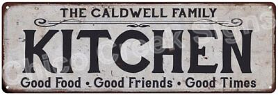 THE CALDWELL FAMILY KITCHEN Vintage Look Metal Sign Chic Decor Retro 6184529
