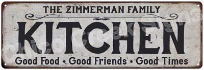 THE ZIMMERMAN FAMILY KITCHEN Vintage Look Metal Sign Chic Decor Retro 6184578