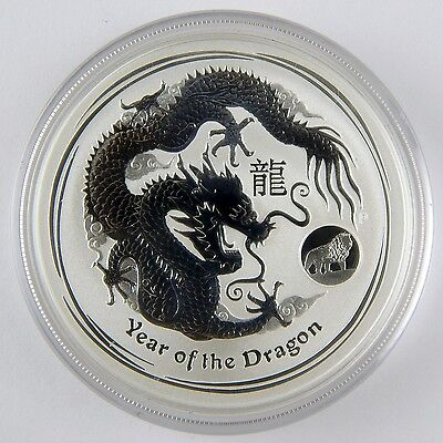 2012-P Australia $1 Lion Privy Lunar Year of Dragon 1 Oz UNC Silver Coin A2787