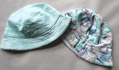 New & Tagged NEXT 2 Pack Baby Sun Hats Cotton Mint & Yacht Print Size 0-3 Months