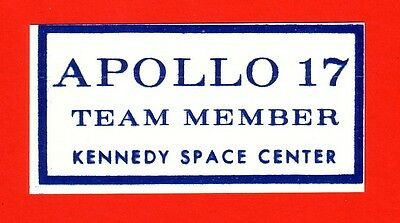 Nasa Space Mission Apollo 17  Sticker Teammember Kennedy Space Center Astronauts
