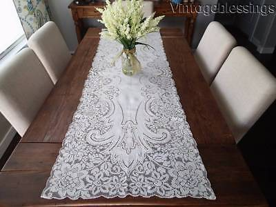 """Amazing 66"""" Figural ANTIQUE Point de Venise Filet Lace Embroidered Table RUNNER"""