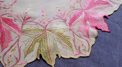 For SOCIETY SILK Collector: Pink +Green Maple Leaves/Ecru Cloth, COUCHING STITCH