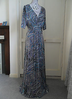 *PER UNA* Blue Grey Lilac Paisley Extra Long Short Sleeve Maxi Dress Size 18L